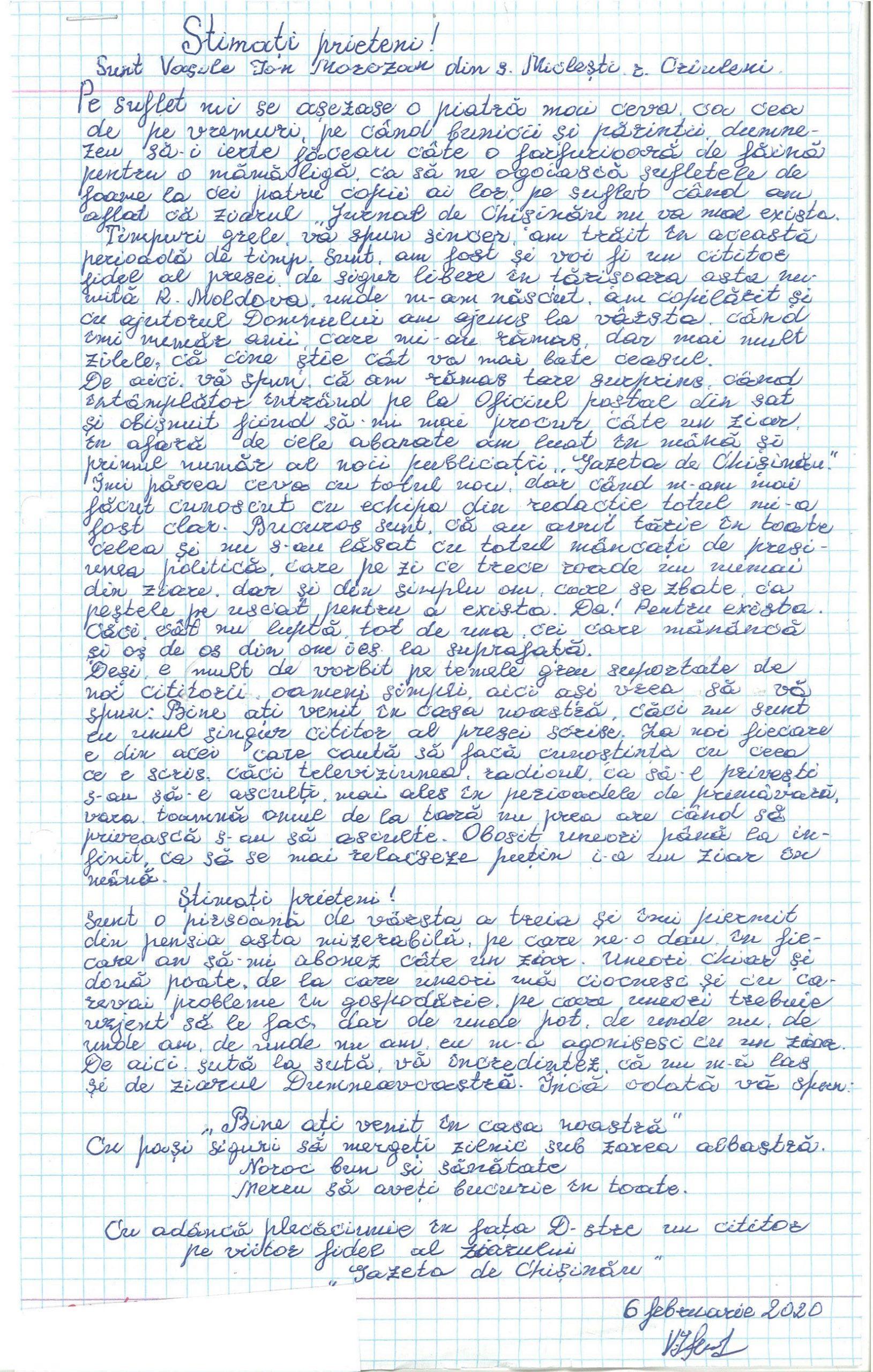Copia scrisorii