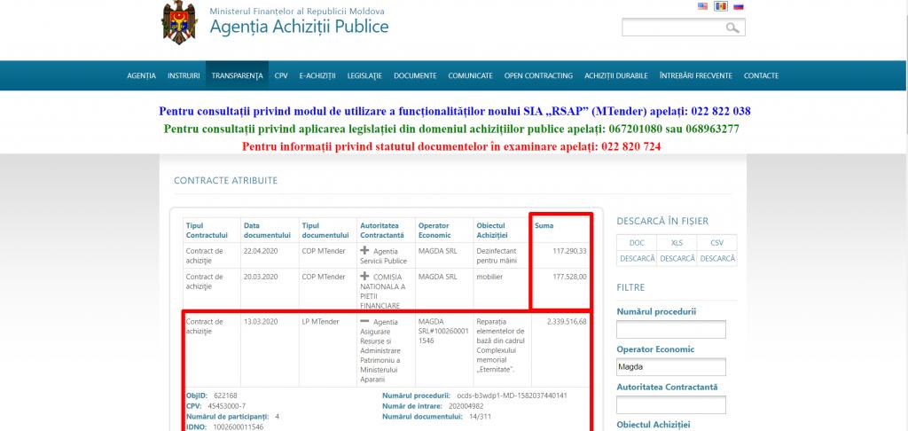 Screenshot de pe site-ul tender.gov.md