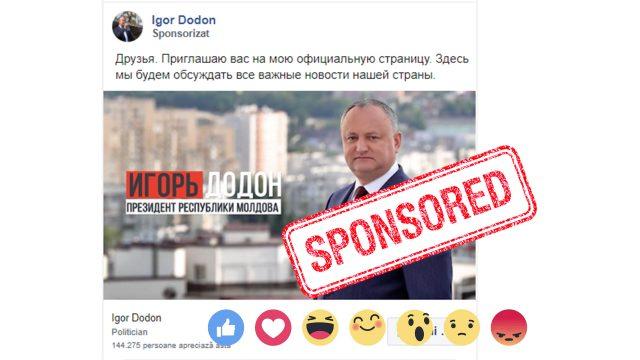 Screenshot la o postare sponsorizată pe rețeaua de socializare FACEBOOK, de pe pagina Președintelui Igor Dodon