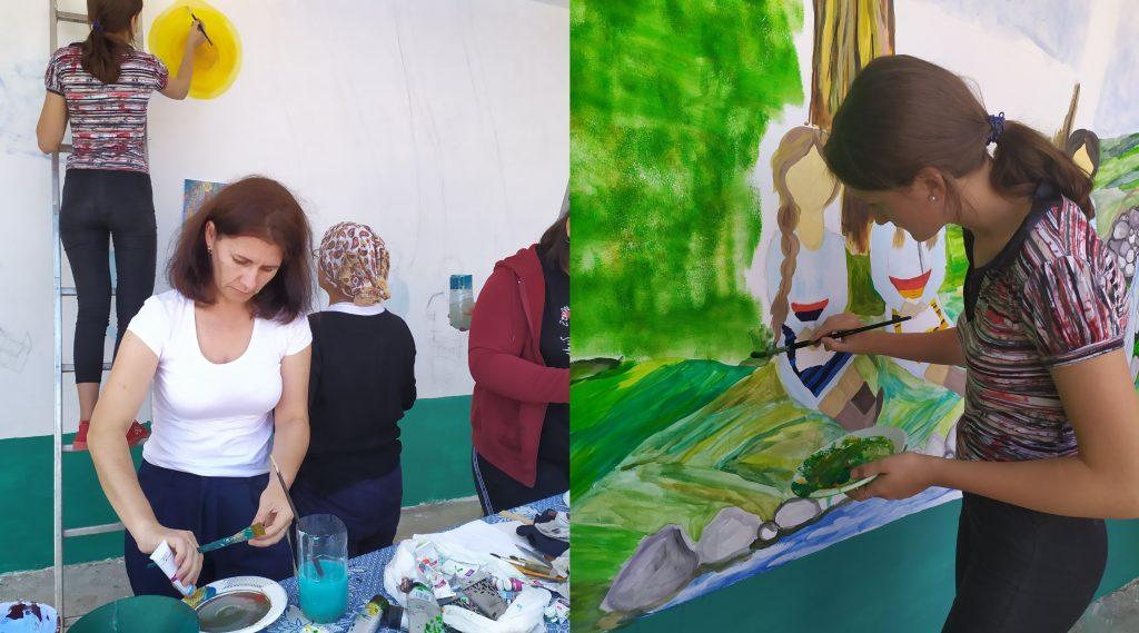 Arhiva personală. Elevii și profesorii pictează stația din raionul Telenești
