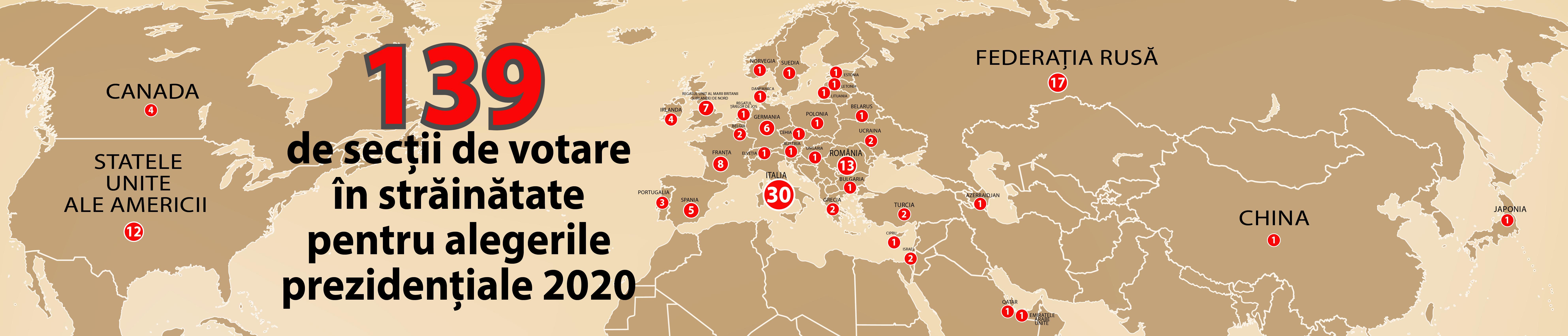 139 de secții de votare vor fi deschise în străinătate pentru alegerile prezidențiale din 2020. Sursa: API