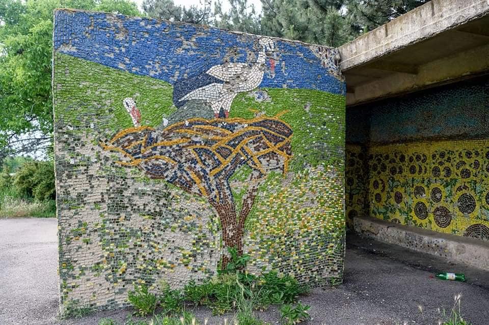 Stația cu mozaic de pe traseul Chișinău-Palanca. Foto: facebook.com/Stațiile Vieții