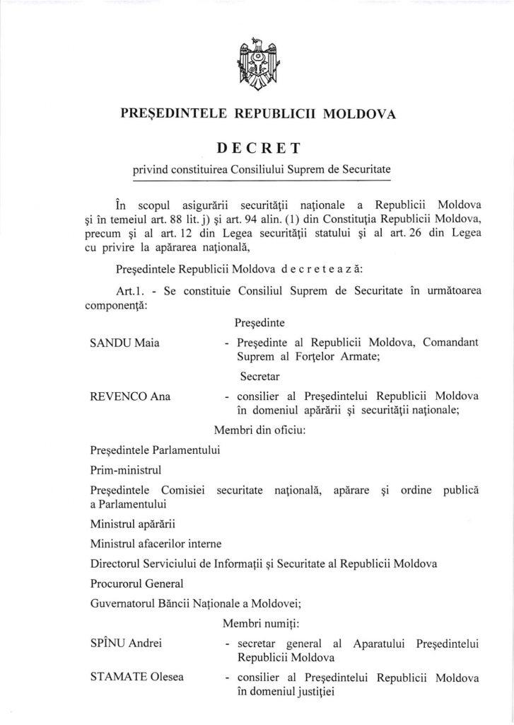 Decret privind constituirea Consiliului Suprem de Securitate