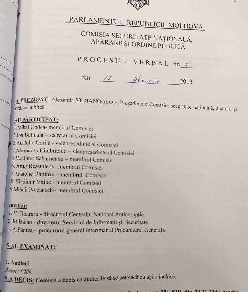 Proces verbal al ședinței comisiei prezidată de Alexandr Stoianoglo
