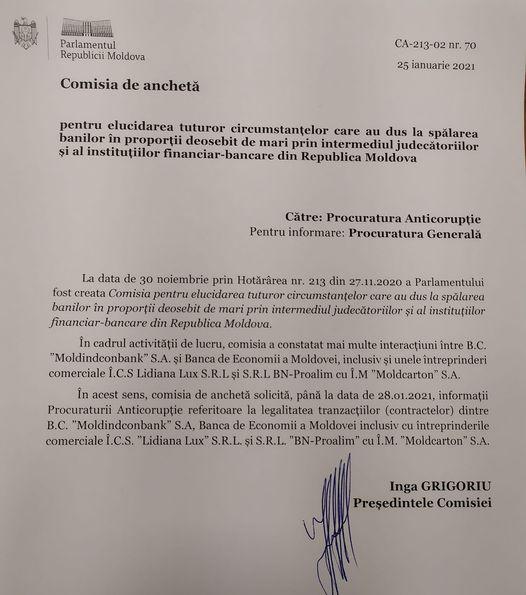 Scrisoare adresată Procuraturii Anticorupție