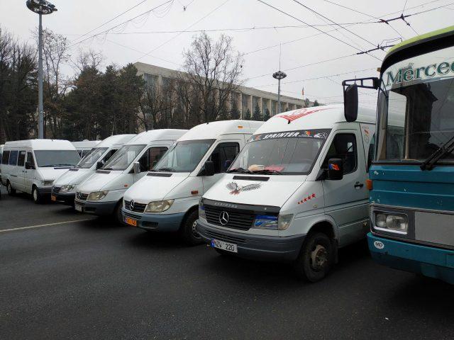 Protestul transportatorilor în centrul Chișinăului, în decembrie 2019